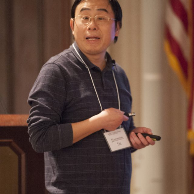 Jianmin Su presents findings of his research to faculty and students during the Virginia Tech Carilion Research Institute's annual retreat held at the Hotel Roanoke on November 3, 2015. (David Hungate for VTC)